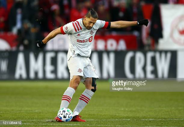 Omar González of Toronto FC shoots the ball during the first half of an MLS game against New York City FC at BMO Field on March 07, 2020 in Toronto,...