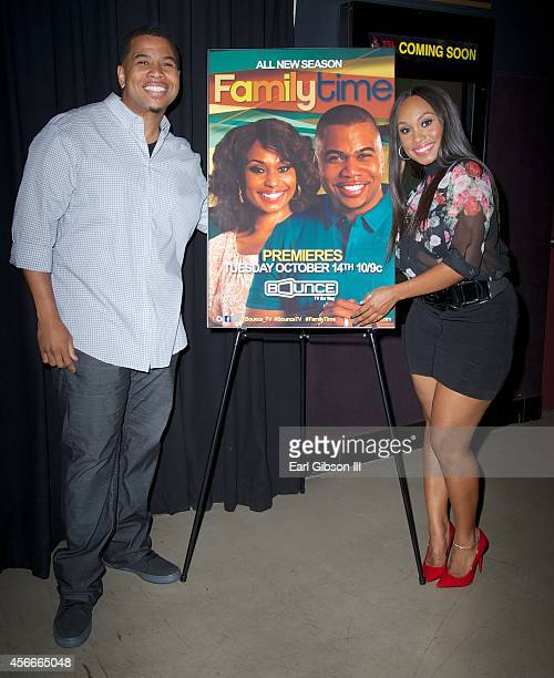 Omar Gooding and Angell Conwell pose for a photo at the Bounce TV Hosts Season 2 Premiere Of 'Family Time' at TCL Chinese 6 Theatres on October 4...