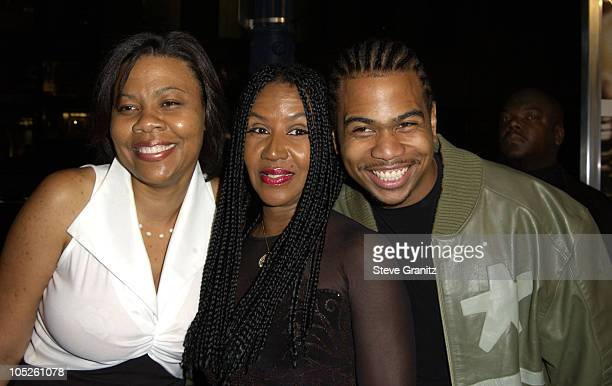 Omar Gooding mother Shirley and sister April during Radio Premiere Arrivals at Academy Theatre in Beverly Hills California United States