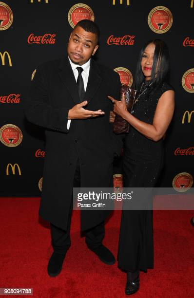 Omar Gooding with his mother Shirely Gooding attends the 26th Annual Trumpet Awards at Cobb Energy Performing Arts Center on January 20 2018 in...
