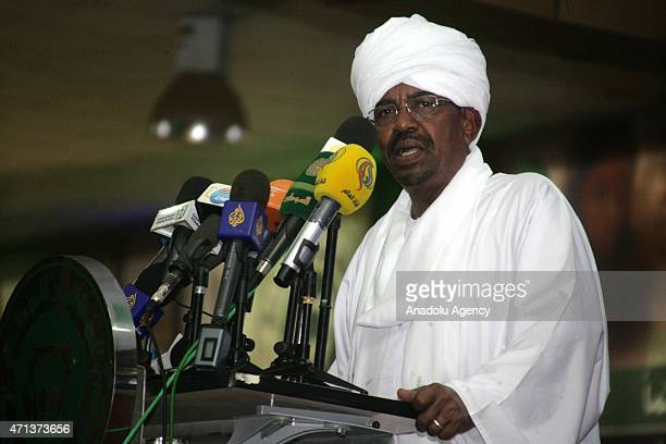 Omar Hassan alBashir addresses to his supporters after he won the presidential election in Khartoum Sudan on April 27 2015 With a result widely...