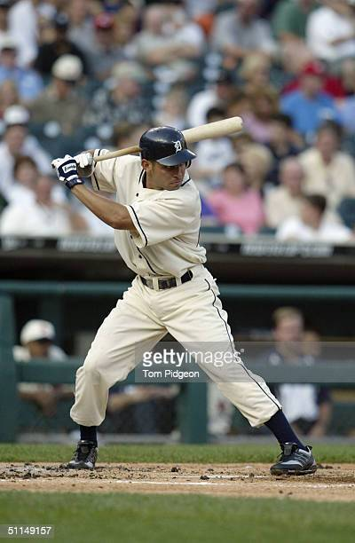 Omar Infante of the Detroit Tigers stands ready at bat during the game against the Chicago White Sox on July 31 2004 in Detroit Michigan The Tigers...