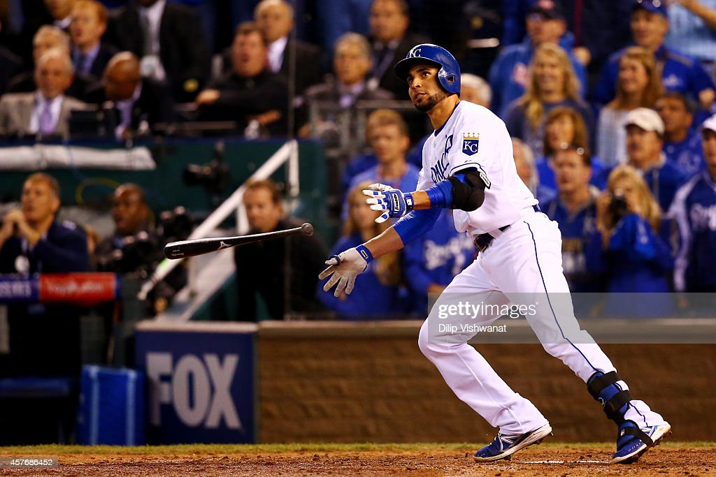 Omar Infante #14 of the Kansas City Royals hits a two-run home run in the sixth inning against San Francisco Giants during Game Two of the 2014 World Series at Kauffman Stadium on October 22, 2014 in Kansas City, Missouri.