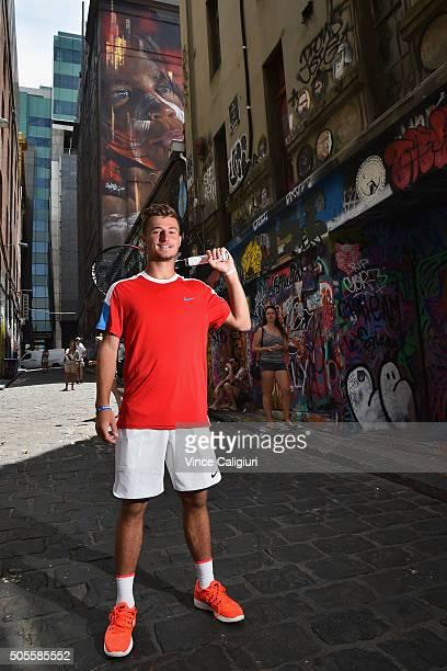 Omar Jasika of Australia poses in Hosier Lane during day two of the 2016 Australian Open at Melbourne Park on January 19 2016 in Melbourne Australia