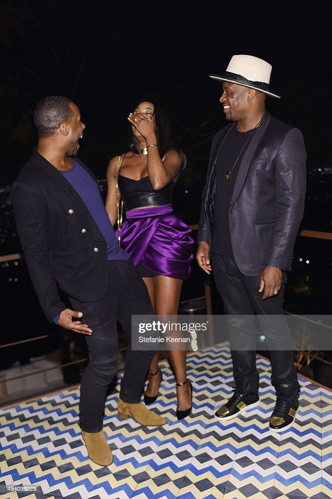 Omar Johnson, DJ MOS and DJ KISS attend Olivier Rousteing & Beats Celebrate In Los Angeles at Private Residence on October 23, 2015 in Los Angeles, California.