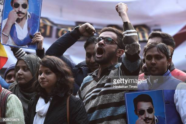 Omar Khalid at the Yuva Hunkar rally at Parliament street on January 9 2018 in New Delhi India Dalit leader and Gujarat lawmaker Jignesh Mevani took...