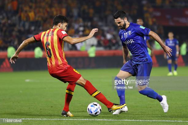 Omar Khrbin of Al Hilal SFC battles for possession with Mohamed Yakoubi of Esperance Sportive de Tunis during the FIFA Club World Cup 2nd round match...