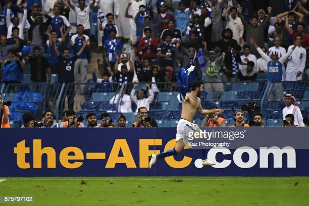 Omar Khribin of Al-Hilal celebrates scoring his side's first goal during the AFC Champions League Final 2017 first leg between Al-Hilal and Urawa Red...