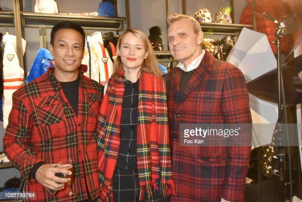 Omar Lagda Pauline de Drouas and Jean Charles de Castelbajac attend Rossignol Paris Flagship Opening at 21 Bd Capucines on October 22 2018 in Paris...