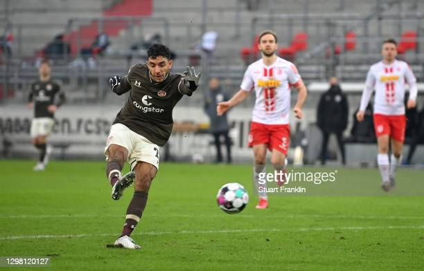 Omar Marmoush of FC St. Pauli scores their side's second goal during the Second Bundesliga match between FC St. Pauli and SSV Jahn Regensburg at...