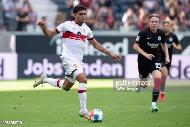 Omar Marmoush of VfB Stuttgart controls the ball during the Bundesliga match between Eintracht Frankfurt and VfB Stuttgart at Deutsche Bank Park on...