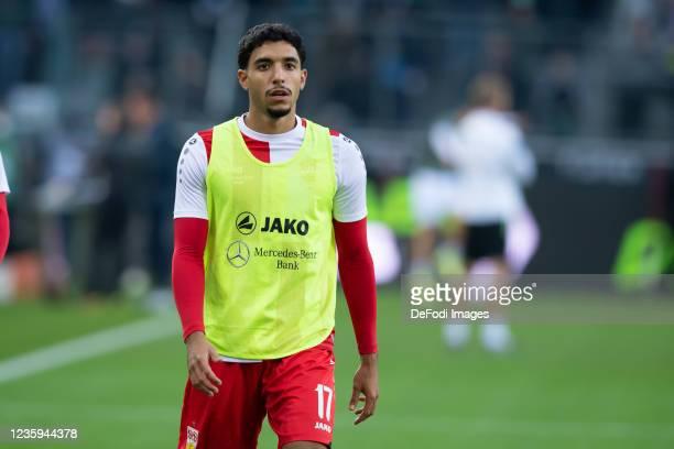 Omar Marmoush of VfB Stuttgart looks on prior to the Bundesliga match between Borussia Mönchengladbach and VfB Stuttgart at Borussia-Park on October...