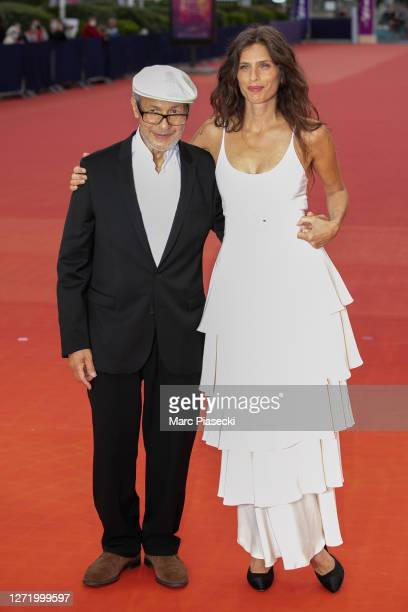 "Omar Marwan and Maiwenn Le Besco attend the ""ADN"" Premiere at the 46th Deauville American Film Festival on September 11, 2020 in Deauville, France."