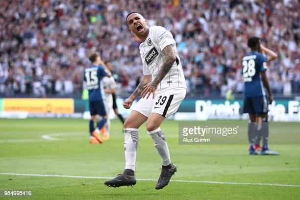 Omar Mascarell of Frankfurt celebrates after he scored a goal to make it 20 during the Bundesliga match between Eintracht Frankfurt and Hamburger SV...