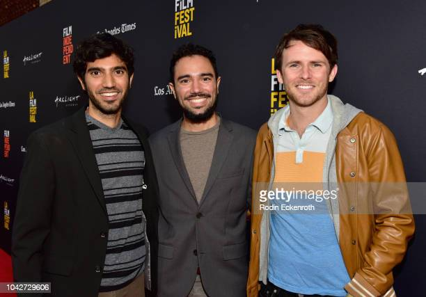 "Omar Maskati, Kahlil Maskati and Andrew Carter attend the Closing Night Screening of ""Nomis"" during the 2018 LA Film Festival at ArcLight Cinerama..."