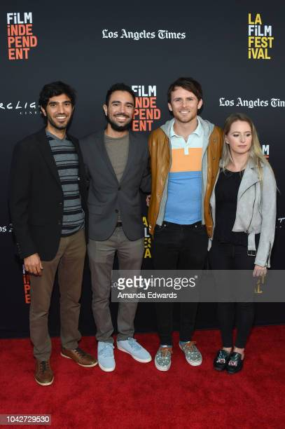 """Omar Maskati, Kahlil Maskati, Andrew Carter and Zoey Baker attend the Closing Night Screening of """"Nomis"""" during the 2018 LA Film Festival at ArcLight..."""