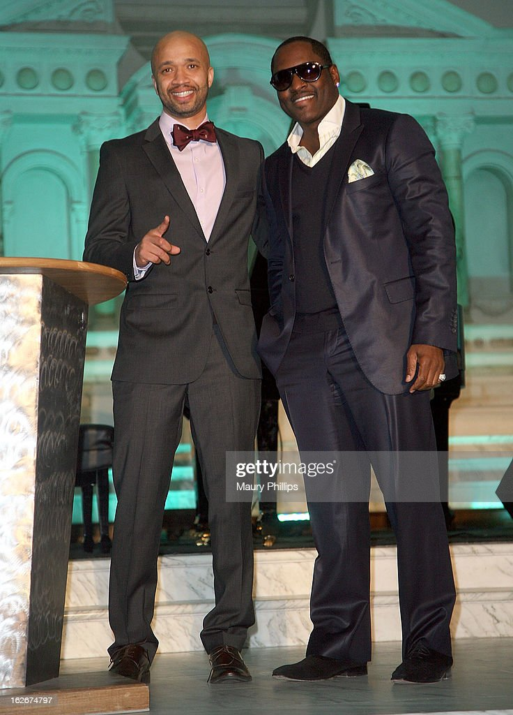 Omar McGee and Johnny Gill onstage during the Executive Preparatory Academy of Finance's 'Reason To Believe' Inaugural charity fundraising gala at Vibiana on February 20, 2013 in Los Angeles, California.