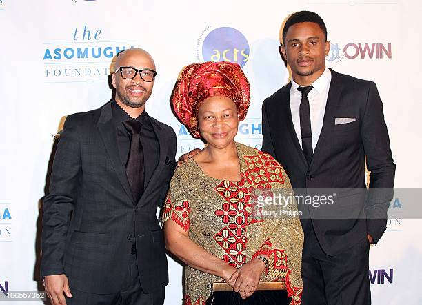 Omar McGee Dr Lilian Asomugha and Nnamdi Asomugha attend the 7th Annual Asomugha Foundation Gala at Millennium Biltmore Hotel on April 13 2013 in Los...
