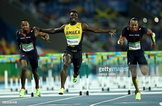 Omar Mcleod of Jamaica celebrates as he wins the gold medal in the Men's 110m Hurdles Final on Day 11 of the Rio 2016 Olympic Games at the Olympic...