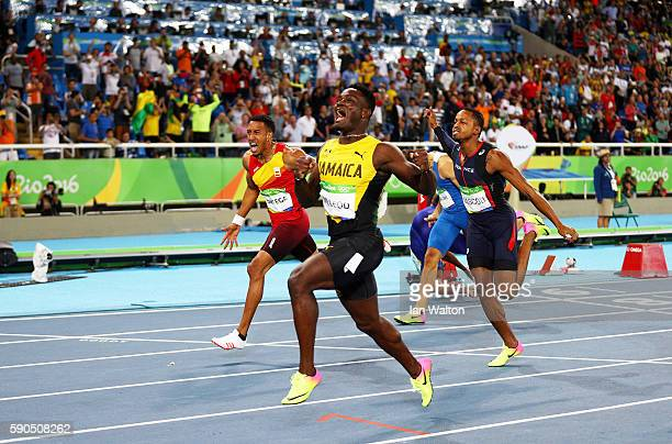 Omar Mcleod of Jamaica celebrates as he wins the gold medal in the Men's 110m Hurdles Final ahead of silver medalist Orlando Ortega of Spain and...