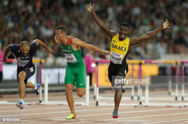 Omar McLeod of Jamaica celebrates victory in the mens 110m hurdles final during day four of the IAAF World Athletics Championships 2017 at the...