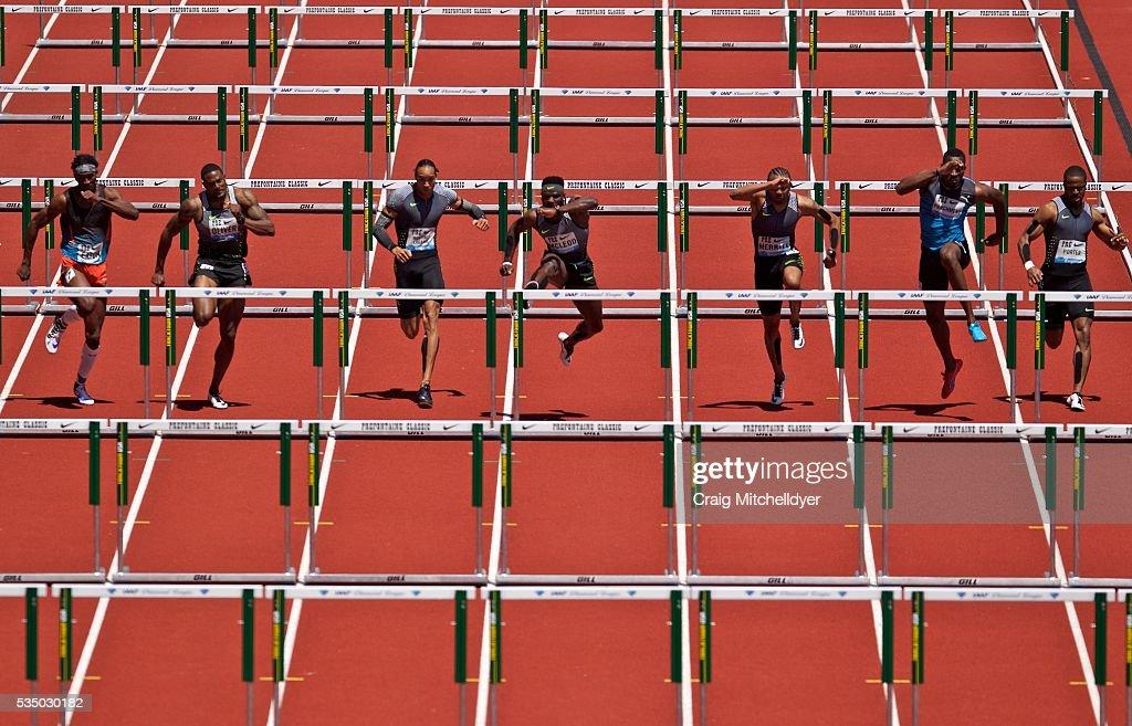 Omar McLeod of Jamaica, center, runs in the 110 meter hurdles at Hayward Field on May 28, 2016 in Eugene, Oregon.