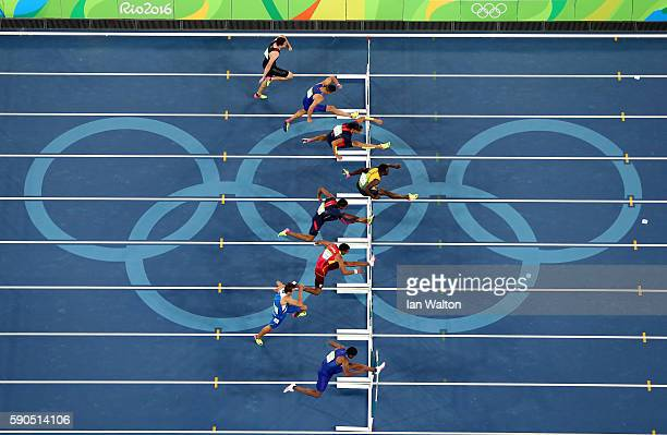 Omar Mcleod of Jamaica competes on his way to winning the gold medal in the Men's 110m Hurdles Final ahead of silver medalist Orlando Ortega of Spain...