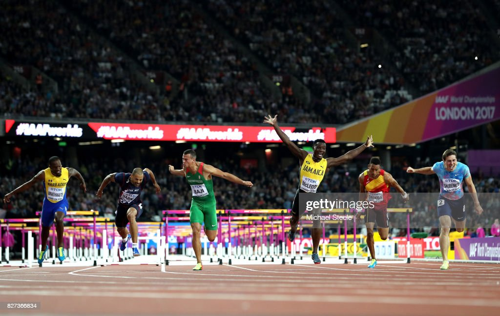 Omar McLeod of Jamaica crosses the finishline to win the Men's 110 metres hurdles final during day four of the 16th IAAF World Athletics Championships London 2017 at The London Stadium on August 7, 2017 in London, United Kingdom.
