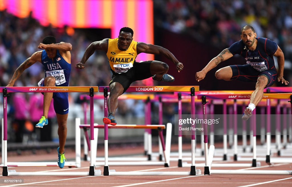Omar McLeod of Jamaica, Garfield Darien of France and Aleec Harris of the United States compete in the Men's 110 metres hurdles during day three of the 16th IAAF World Athletics Championships London 2017 at The London Stadium on August 6, 2017 in London, United Kingdom.