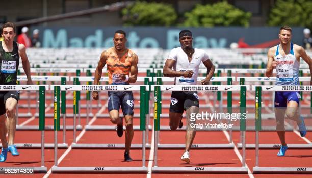 Omar McLeod of Jamaica wins the men's 110 meter hurdles during the 2018 Prefontaine Classic at Hayward Field on May 26 2018 in Eugene Oregon