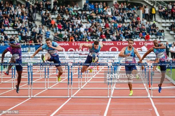 Omar McLeod Sergey Shubenkov Andrew Pozzi Milan Trajkovic and Antonio Alkana during the Meeting de Paris of the IAAF Diamond League 2017 at Stade...