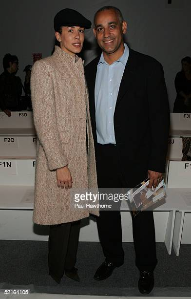 Omar Minaya general manager of the New York Mets and his wife attend the Lela Rose Fall 2005 show during Olympus Fashion Week February 9 2005 in New...