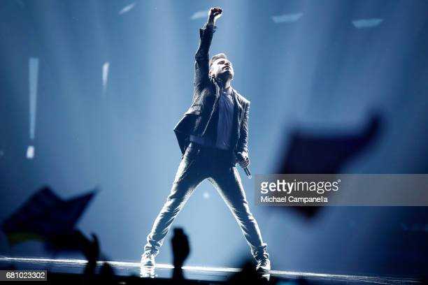 Omar Naber representing Slovenia performs the song 'On My Way' during the first semi final of the 62nd Eurovision Song Contest at International...