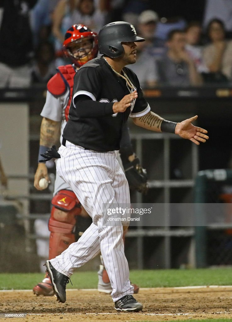 Omar Narvaez #38 of the Chicago White Sox celebrates after scroing a run in the 7th inning against the St. Louis Cardinals at Guaranteed Rate Field on July 11, 2018 in Chicago, Illinois.