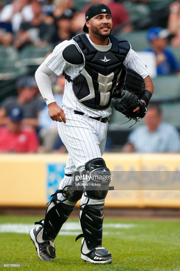 Omar Narvaez #38 of the Chicago White Sox jogs back to the dugout during the game against the Toronto Blue Jays at Guaranteed Rate Field on August 1, 2017 in Chicago, Illinois.