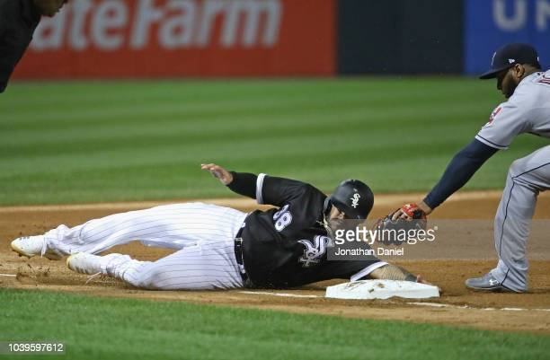 b635d59bd Omar Narvaez of the Chicago White Sox slides safely into third base on a  single by
