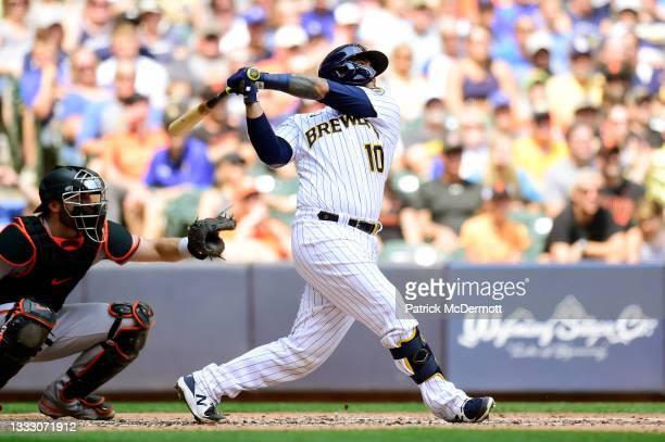 Omar Narvaez of the Milwaukee Brewers hits a two-run home run in the fourth inning against the San Francisco Giants at American Family Field on...