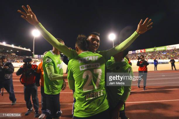 Omar Panuco of Juarez celebrates after scoring the first goal of his team during the semifinal match between Juarez and Pumas UNAM at Estadio...