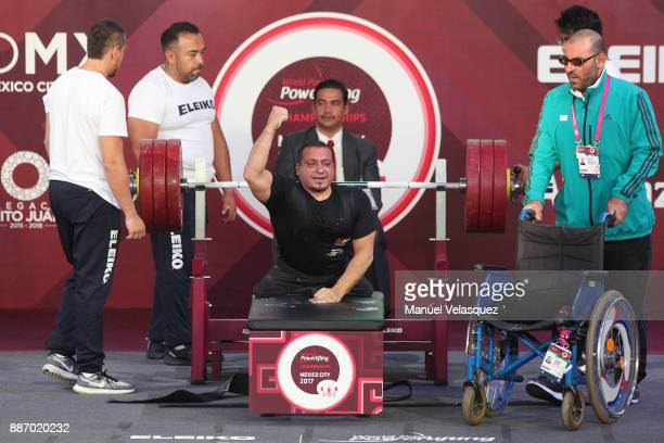 Omar Qarada of Jordan celebrates during the Men's Up to 49Kg Group A Category as part of day 3 of the World Para Powerlifting Championship Mexico...