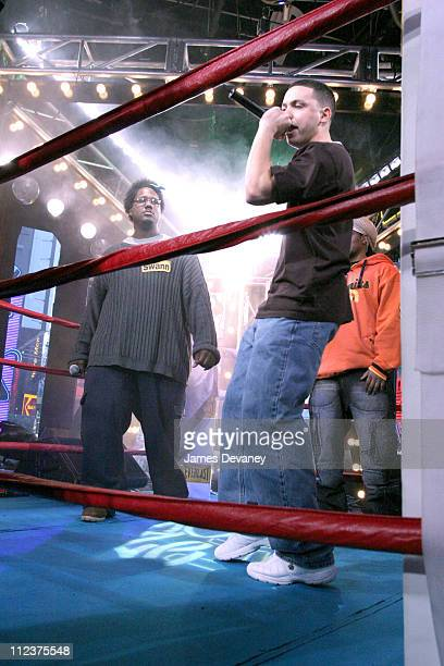Omar Rashad Swann and Ben Wreckonize Miller during MTV's MC Battle II The Takeover in Times Square at MTV Studios Times Square in New York City New...