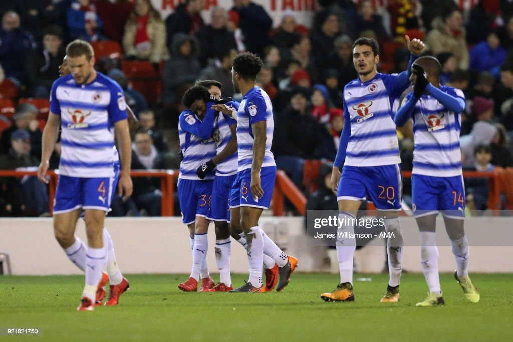 Omar Richards of Reading celebrates after scoring a goal to make it 1-0 during the Sky Bet Championship match between Nottingham Forest and Reading at City Ground on February 20, 2018 in Nottingham, England.