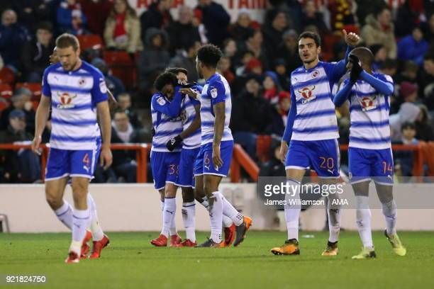 Omar Richards of Reading celebrates after scoring a goal to make it 10 during the Sky Bet Championship match between Nottingham Forest and Reading at...