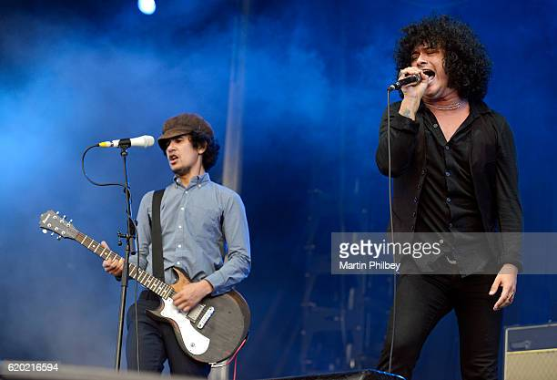 Omar RodríguezLopez and Cedric BixlerZavala of Antemasque perform on stage at the Soundwave Festival at Melbourne showgrounds on Sunday the 22nd of...