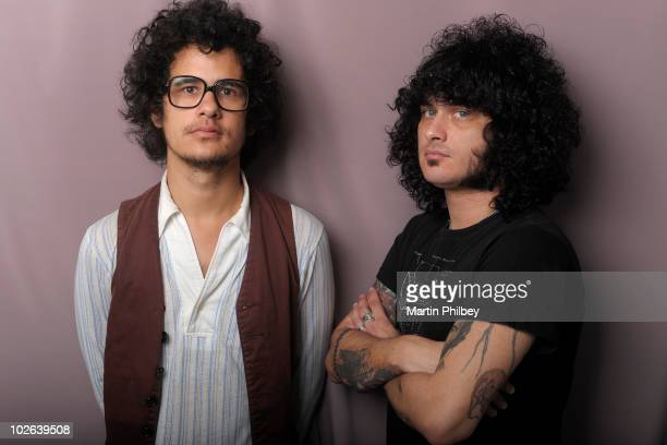 Omar Rodriguez Lopez and Cedric BixlerZavala of the Mars Volta pose for portraits backstage at the Big Day Out at Flemington Race Course on January...