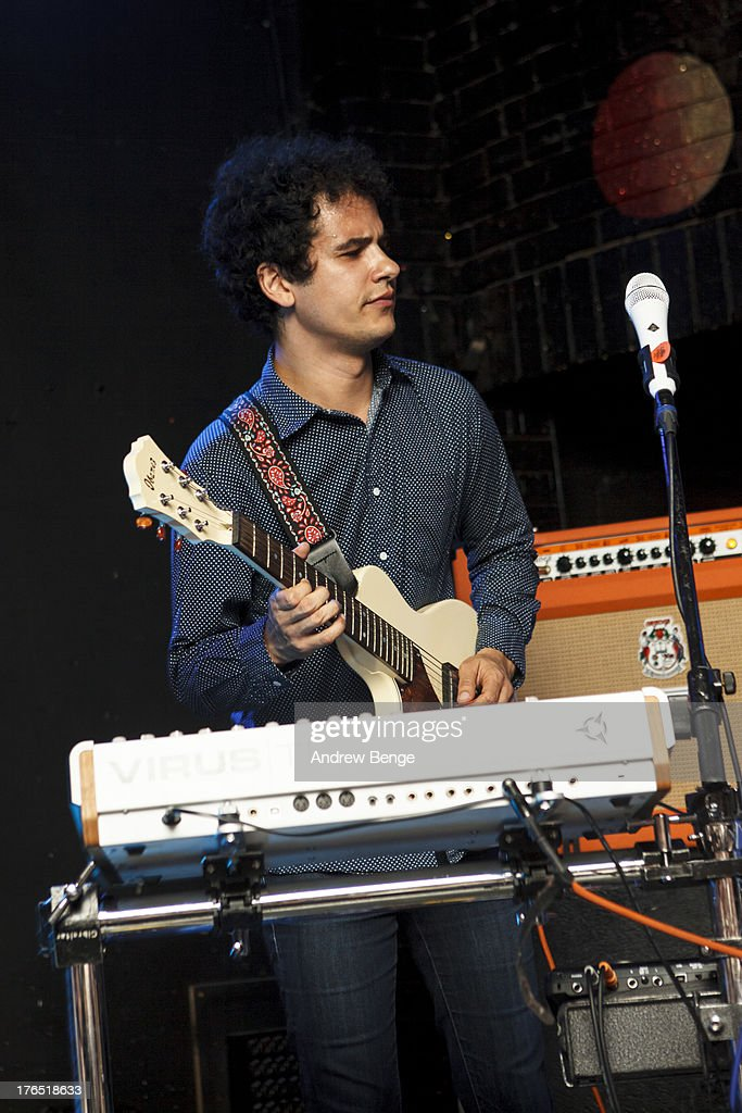 Omar Rodriguez Lopez of Bosnian Rainbows performs on stage at Brudenell Social Club on August 14, 2013 in Leeds, England.