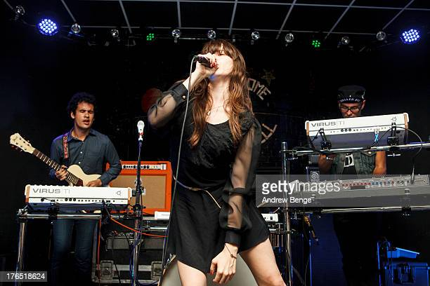 Omar Rodriguez Lopez Teri Gender Bender Nicci Kasper and Deantoni Parks of Bosnian Rainbows perform on stage at Brudenell Social Club on August 14...