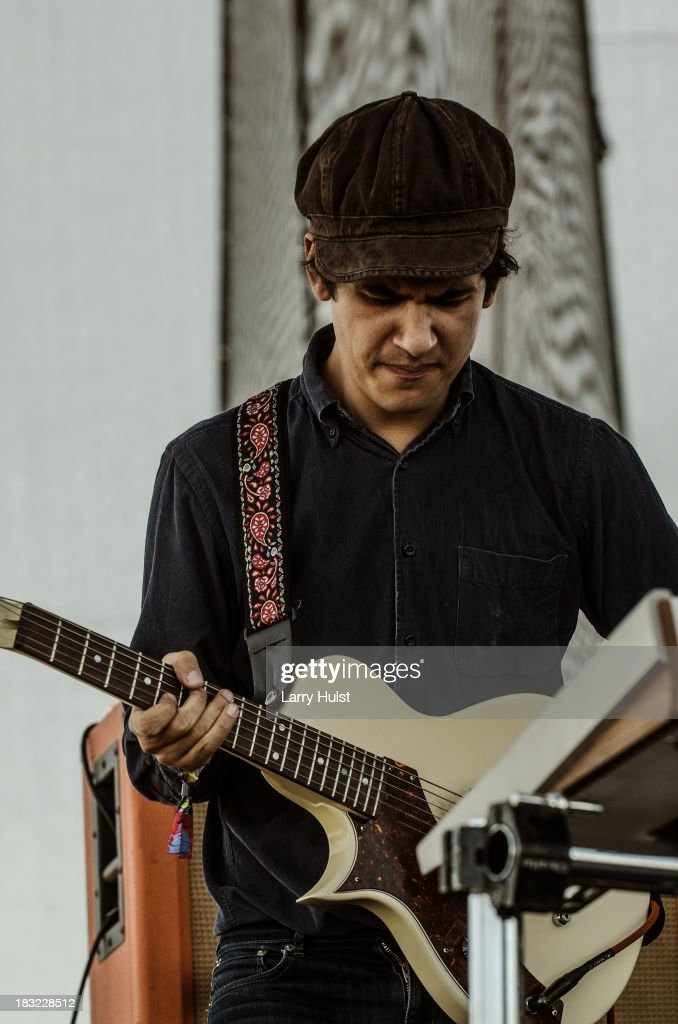 Omar Rodriguez-Lopez performing with 'Bosnian Rainbows' at May Farms in Byers, Colorado on September 21, 2013.