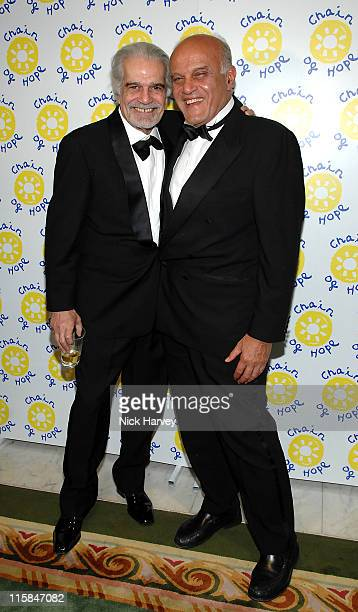 Omar Sharif and Sir Magdi Yacoub during Chain of Hope Autumn Ball at Dorchester Hotel in London Great Britain