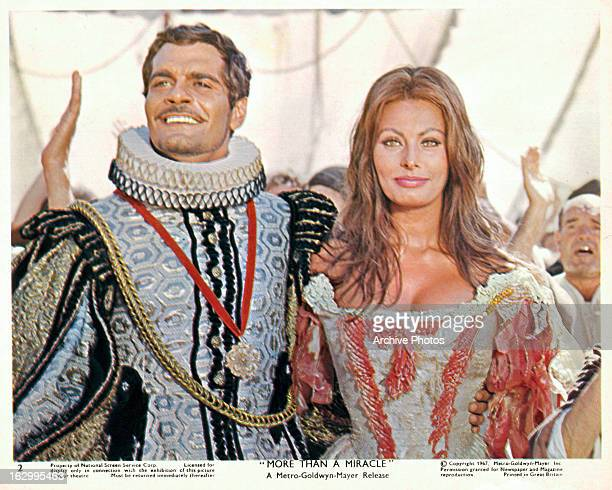 Omar Sharif and Sophia Loren in a scene from the film 'More Than A Miracle' 1967