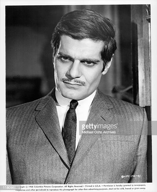 Omar Sharif wearing a suit in a scene from the film 'Funny Girl' 1968